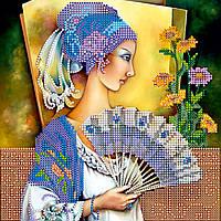Схема для вышивки бисером на натуральном художественном холсте Портрет с веером