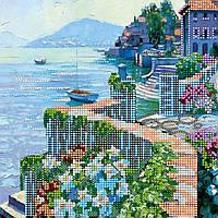 Схема для вышивки бисером на натуральном художественном холсте Вид на море