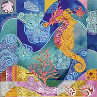 Схема для вышивки бисером на натуральном художественном холсте Морской конек