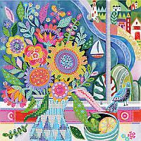 Схема для вышивки бисером на натуральном художественном холсте Цветы у моря