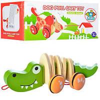 Дерев'яна іграшка Каталка MD 0988 2 види (крокодил, собака), кор., 27-10,5-11 см.