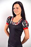 Женская черная кофточка футболка с фонариками из тонкого трикотажа  ,Блуза 574421.