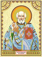 Схема для вышивки иконы бисером на натуральном художественном холсте Святой Николай