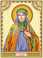 Схема для вышивки иконы бисером на натуральном художественном холсте Святая Ангелина