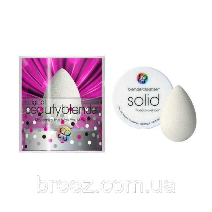 Набор спонж BEAUTYBLENDER розовый и средство для очищения спонжа SOLID