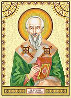 Схема для вышивки иконы бисером на натуральном художественном холсте Святой Рустик (Руслан)
