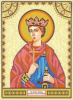 Схема для вышивки иконы бисером на натуральном художественном холсте Святой Эдуард