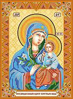 Схема для вышивки иконы бисером на натуральном художественном холсте Икона Богородицы «Неувядаемый цвет»