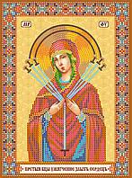 Схема для вышивки иконы бисером на натуральном художественном холсте Икона Богородицы «Семистрельная»