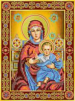 Схема для вышивки иконы бисером на натуральном художественном холсте Икона «Венчальная пара. Богородица»