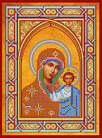 Схема для вышивки иконы бисером на натуральном художественном холсте Икона Богородицы «Казанская»