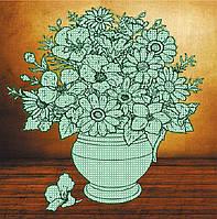 Схема-раскраска для вышивки бисером на натуральном художественном холсте  Цветочная фантазия
