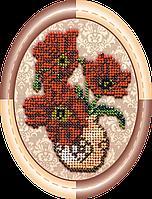 Набор для вышивки бисером на натуральном художественном холсте Ваза с маками