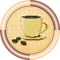Набор для вышивки бисером на натуральном художественном холсте Кофе