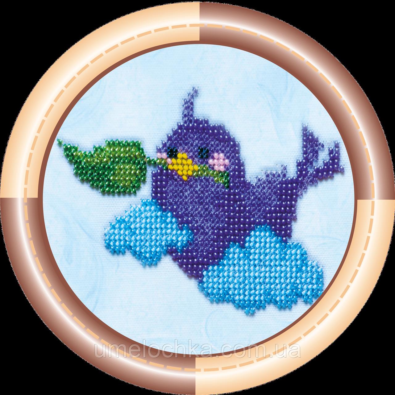 Набор для вышивки бисером на натуральном художественном холсте Птичка