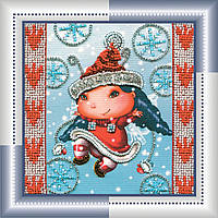 Набор для вышивки бисером на натуральном художественном холсте Рождественский эльф