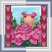 Набор для вышивки бисером на натуральном художественном холсте Розовая фея