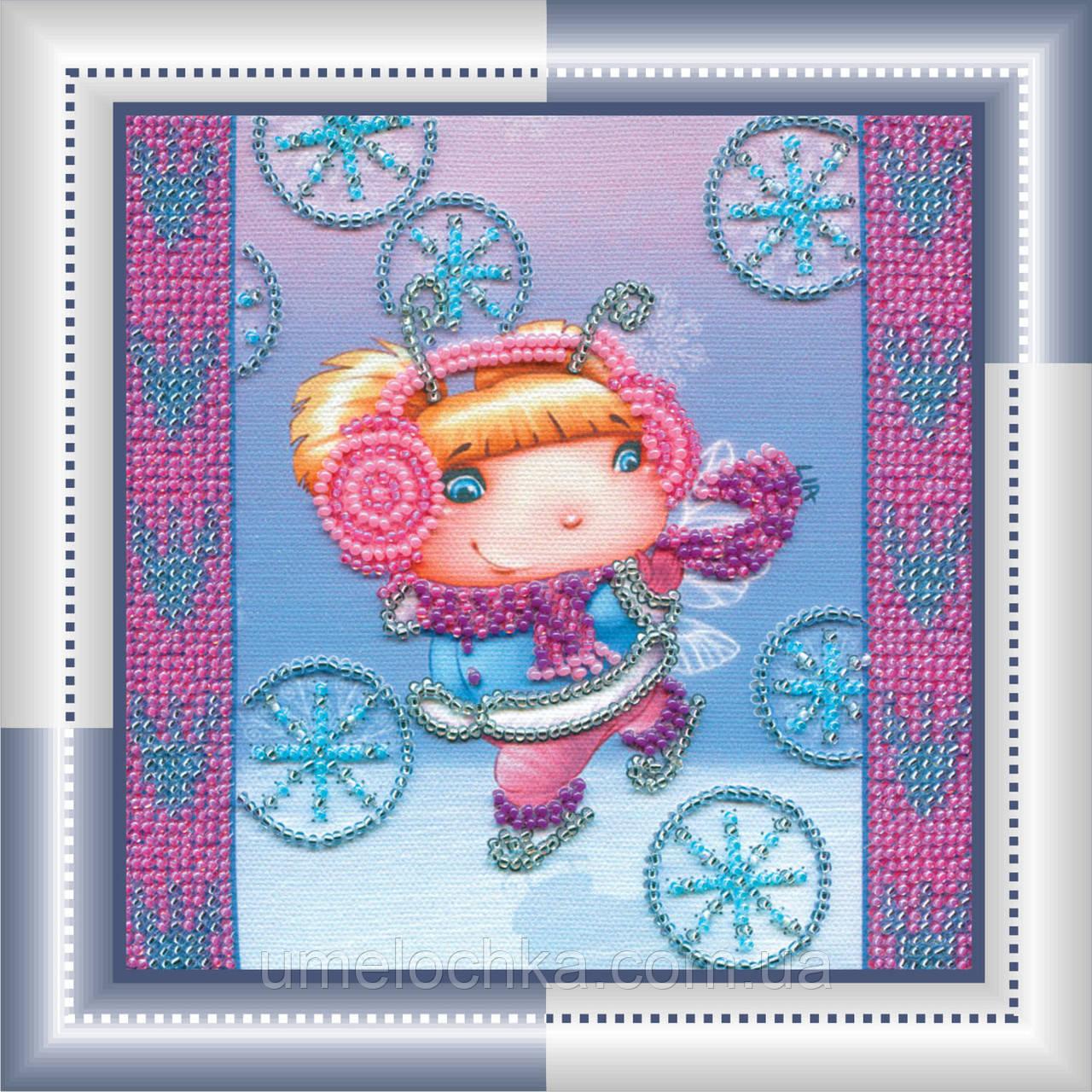 Набор для вышивки бисером на натуральном художественном холсте Снежный ангел