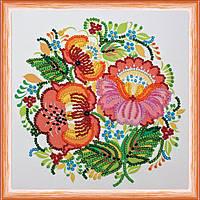 Набор для вышивки бисером на натуральном художественном холсте Хохлома-1
