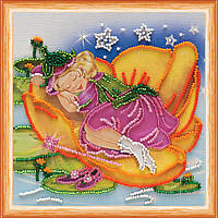 Набор для вышивки бисером на натуральном художественном холсте Спящая фея