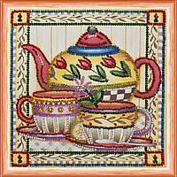 Набор для вышивки бисером на натуральном художественном холсте Чай вдвоем