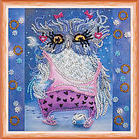 Набор для вышивки бисером на натуральном художественном холсте Сова с будильником
