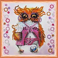 Набор для вышивки бисером на натуральном художественном холсте Сова с чашкой кофе