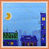 Набор для вышивки бисером на натуральном художественном холсте Ночной город