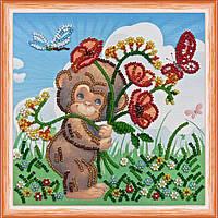 Набор для вышивки бисером на натуральном художественном холсте Букет маков