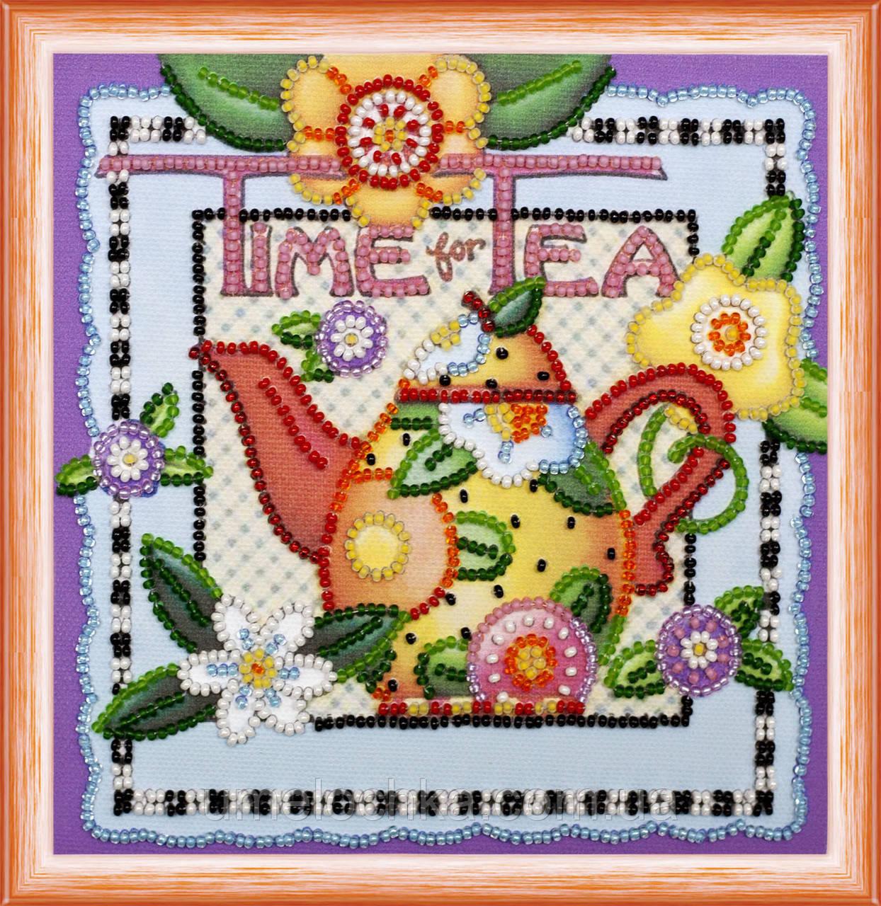 Набор для вышивки бисером на натуральном художественном холсте Время чаепития