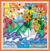 Набор для вышивки бисером на натуральном художественном холсте Веселый ручей