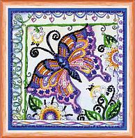Набор для вышивки бисером на натуральном художественном холсте Бабочка в цветах