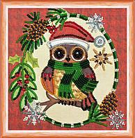 Набор для вышивки бисером на натуральном художественном холсте Новогодний мотив