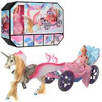 Игровой набор карета 68021 с лошадью 52см, лошадь с крыльями, кукла 29 см, в кор-ке, 46-33,5-12см