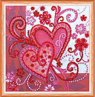Набор для вышивки бисером на натуральном художественном холсте Любящие  сердца bd9cbd66f3f88