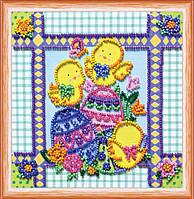 Набор для вышивки бисером на натуральном художественном холсте Пасхальные узоры