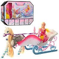 Игровой набор карета 68031 с лошадью 52см, лошадь с крыльями, кукла 29см, в кор-ке, 45-33-9см