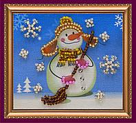 Набор для вышивки бисером «Магнит» Снеговик -1