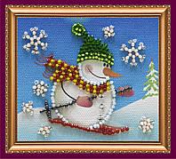 Набор для вышивки бисером «Магнит» Снеговик-2
