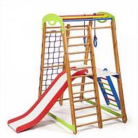 Детский спортивный уголок «Кроха - 2 Plus 2» с горкой, сеткой, кольцами, лестницей, столиком ТМ SportBaby Разноцветный