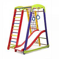 Детский спортивный уголок «Кроха - 1 Plus 1» с горкой, сеткой, кольцами, рукоходом ТМ SportBaby Разноцветный
