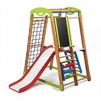 Детский спортивный уголок «Кроха - 2 Plus 3» с горкой, сеткой, кольцами, лестницей, мольбертом ТМ SportBaby Разноцветный