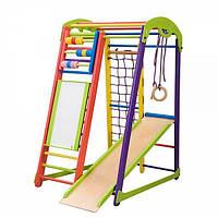 Детский спортивный уголок «Кроха 1» с горкой, сеткой, кольцами, рукоходом, мольбертом, счетами ТМ SportBaby Разноцветный