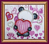 Набор для вышивки бисером «Магнит» Мишка и сердечки