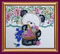 Набор для вышивки бисером «Магнит» Мишка и незабудки