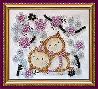 Набор для вышивки бисером «Магнит» Котики в цветах
