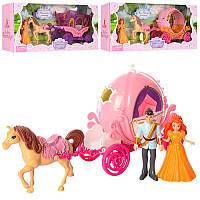 Карета SS019ABC  лошадь, 29,5см, звук, свет,фигурка 2шт. (семья), 3вида, бат(табл), коробка 40,5-17,5-8см