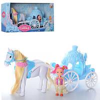 Карета 686-721 с лошадью, 34см, кукла 10см, в кор-ке, 37-19-12 см.