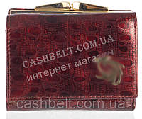 Маленький элитный женский кожаный лаковый кошелек высокого качества art. СD-5703A бордовый