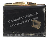 Маленький женский классический кожаный лаковый кошелек высокого качества art. D-55073 A черный